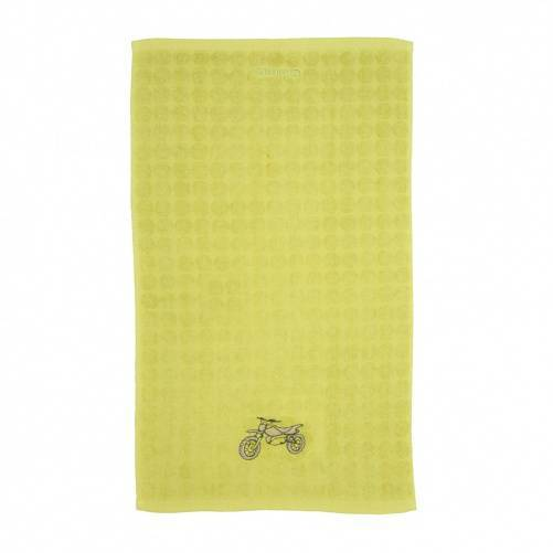 Hand towel with yellow terrycloth and motorcycle embroidery by Bababean