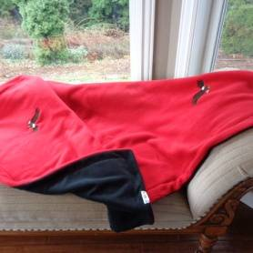Adult fleece blanket with red top and black bottom with embroidered eagles by Bababean