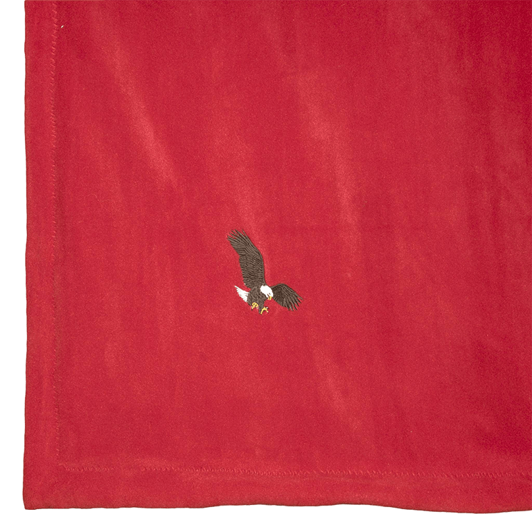 Red fleece blanket for adult or children with eagle embroidery