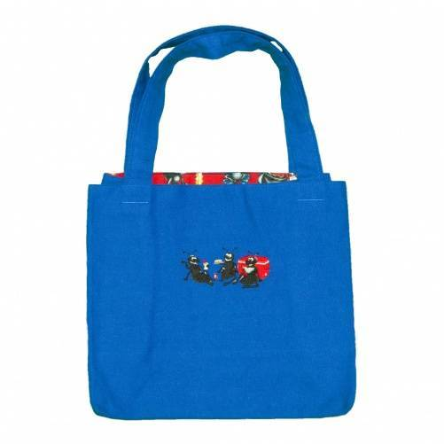 Diaper tote bag with blue fabric and ants embroidery by Bababean