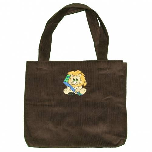 Diaper tote bag with brown fabric and lion embroidery by Bababean
